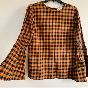abercrombie and fitch bell sleeve plaid top size S